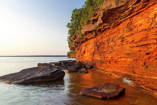 Bayfield Wall Art - Photograph - Layered Sandstone Cliffs And Sea Caves by Chuck Haney