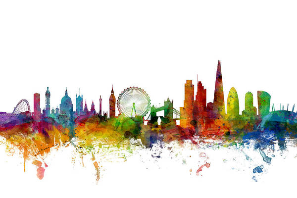 Watercolours Wall Art - Digital Art - London England Skyline by Michael Tompsett