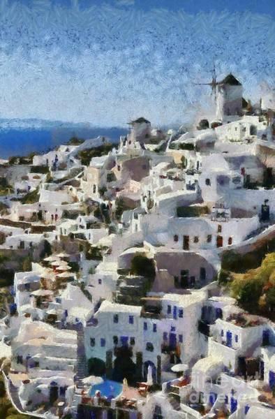 Greek House Painting - Oia Town by George Atsametakis