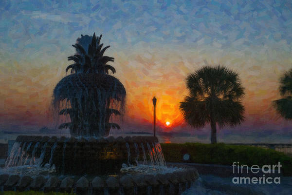 Digital Art - Pineapple Fountain At Dawn by Dale Powell