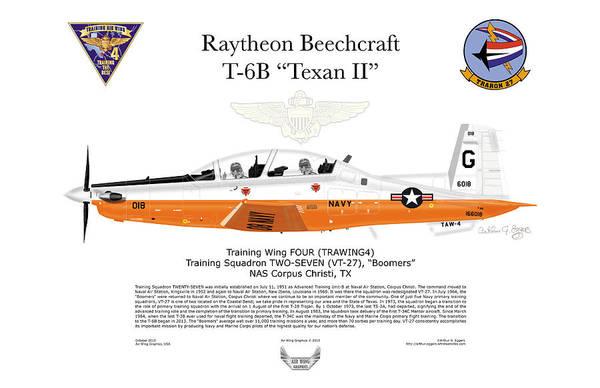 Usn Digital Art - Raytheon Beechcraft T-6b Texan II by Arthur Eggers