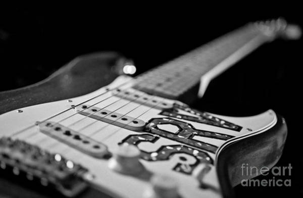 Fret Board Photograph - Replica Stevie Ray Vaughn Electric Guitar Black And White by Jani Bryson