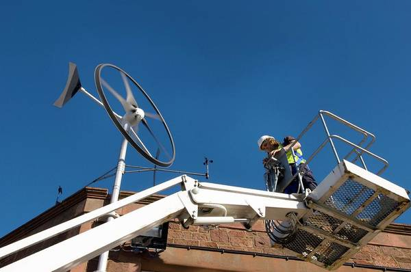 Eco-system Photograph - Rooftop Wind Energy System by Jim Varney/science Photo Library