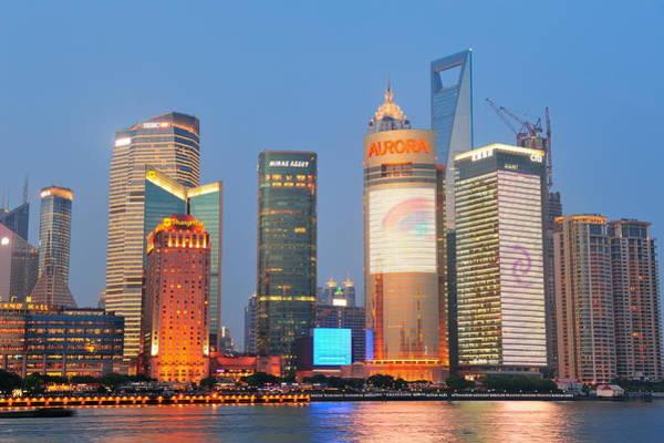 Wall Art - Photograph - Shanghai Cityscape by Songquan Deng