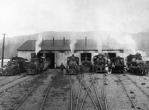 Wall Art - Photograph - 7 Steam Locomotive Lineup C. 1890 by Daniel Hagerman