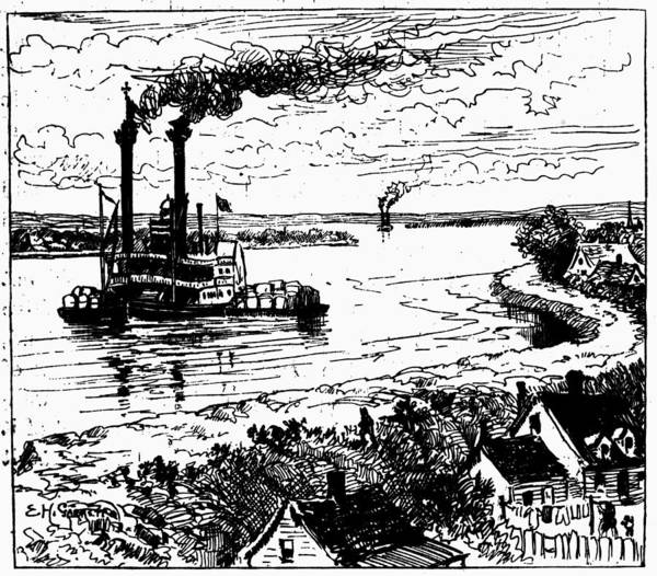 Mississippi River Drawing - Twain Mississippi, 1883 by Granger