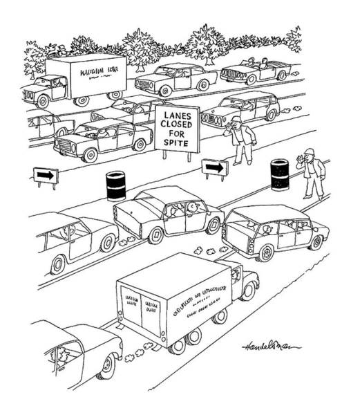 Highway Drawing - New Yorker September 20th, 2004 by J.B. Handelsman