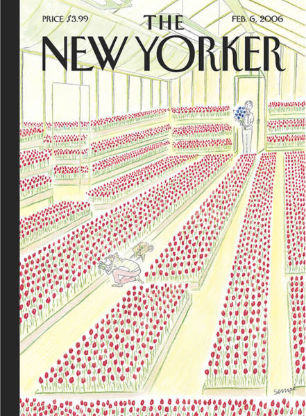Flower Painting - New Yorker February 6th, 2006 by Jean-Jacques Sempe