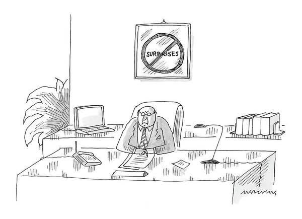 Management Drawing - New Yorker October 10th, 2005 by Mick Stevens