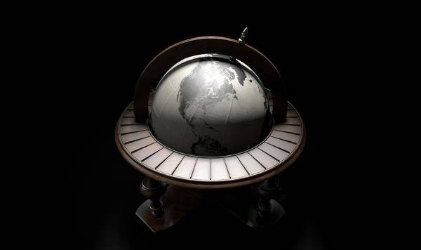 Wall Art - Digital Art - Vintage Wooden World Globe by Allan Swart