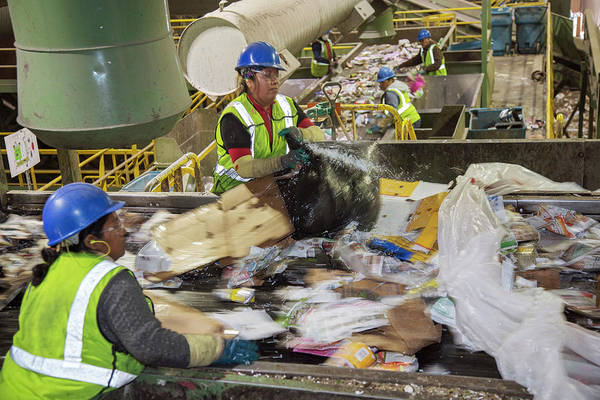 Trash Photograph - Waste Sorting At A Recycling Centre by Peter Menzel