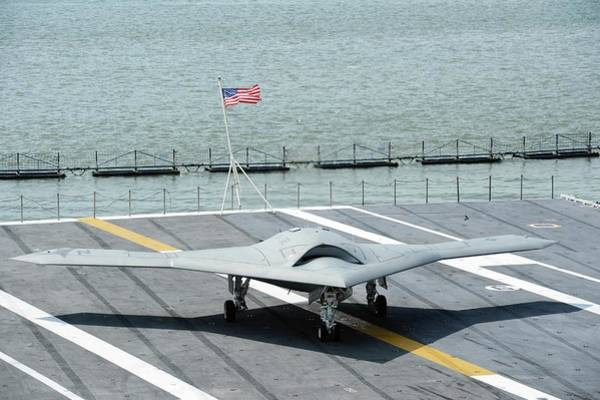 Flight Deck Photograph - X-47b Unmanned Combat Air Vehicle by Us Air Force