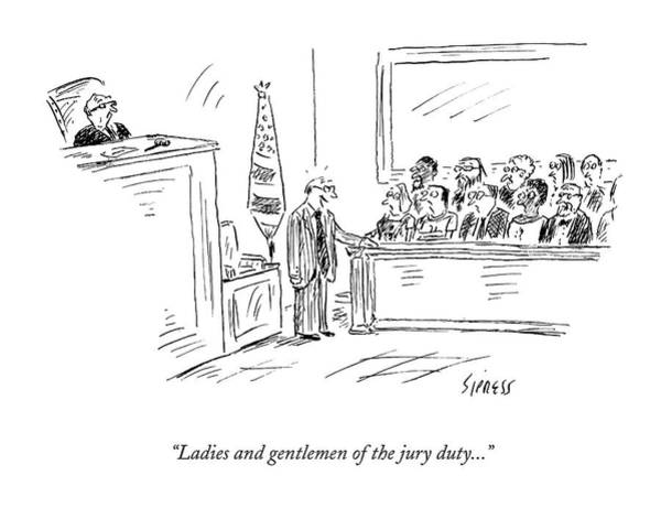 Trials Drawing - New Yorker September 28th, 2009 by David Sipress