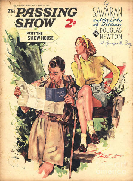 Hiking Drawing - 1930s,uk,the Passing Show,magazine Cover by The Advertising Archives