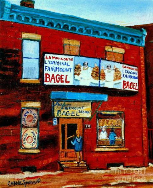 Painting - 74 Fairmount Street La Maison De L'original Bagel The Baker Chef At Work Vintage Montreal Scene by Carole Spandau
