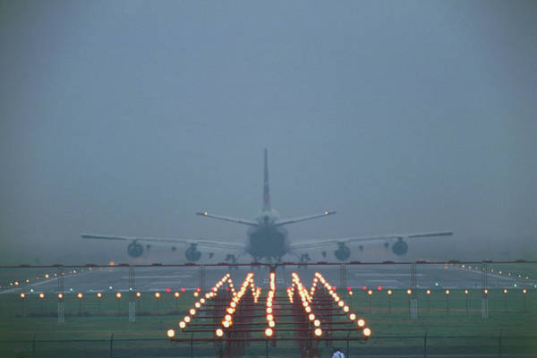 Taking Off Photograph - 747 Airliner Taking Off In Fog by David Nunuk/science Photo Library