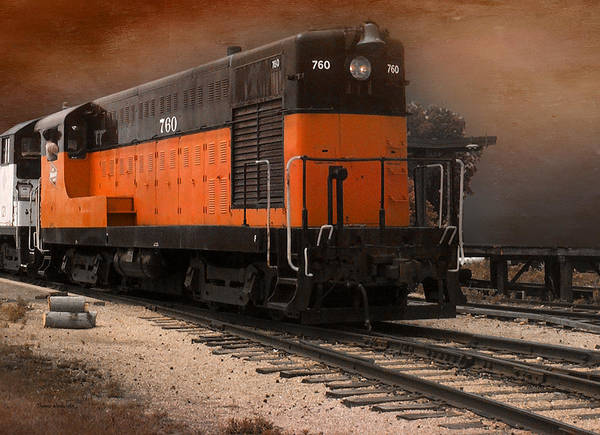 Cloud Cover Mixed Media - 760 Train Engine Approaching Textured by Thomas Woolworth