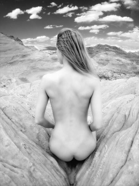 Photograph - 7681 Desert Nude Womans Back Black White Infrared   by Chris Maher