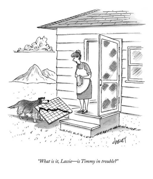 2009 Drawing - What Is It, Lassie - Is Timmy In Trouble? by Tom Cheney