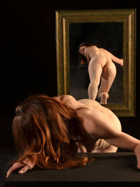7823 Nude Viewing Herself In Mirror Art Print