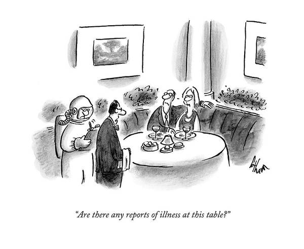 Waiter Drawing - Are There Any Reports Of Illness At This Table? by Frank Cotham