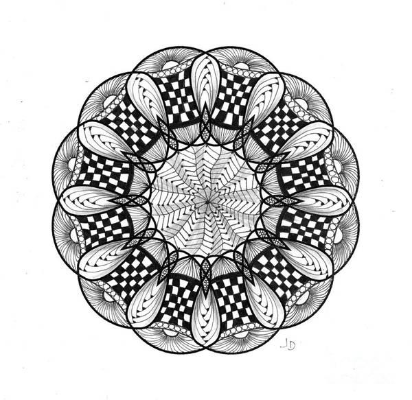Organic Form Drawing - 8 - 12 Pt Symmetry by Jeaanne Donovan