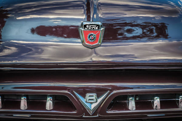 V8 Engine Photograph - 1953 Ford F100 Pickup Truck  by Rich Franco