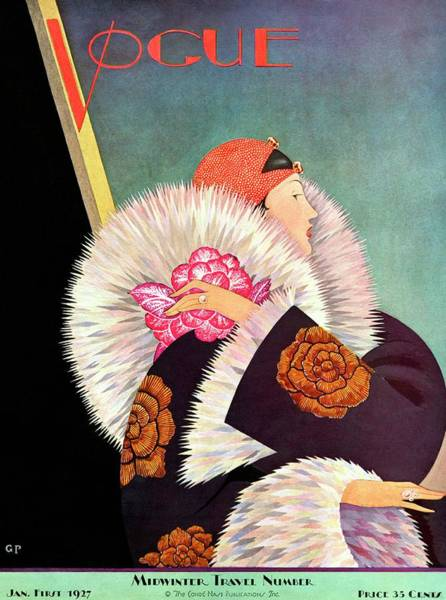 Retro Photograph - A Vintage Vogue Magazine Cover Of A Woman by George Wolfe Plank