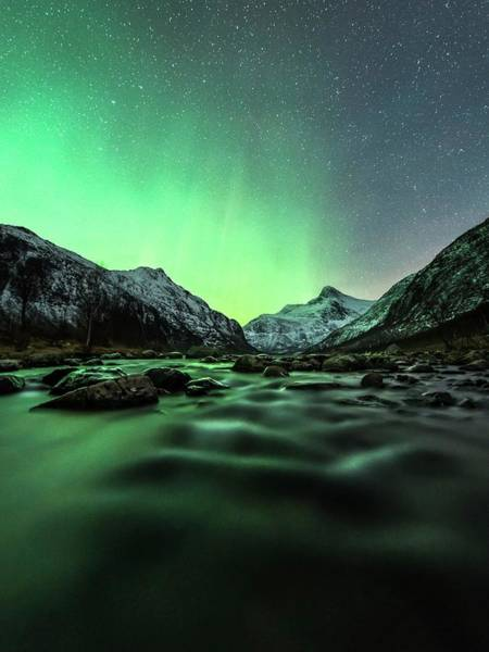 Wall Art - Photograph - Aurora Borealis Over A River by Tommy Eliassen/science Photo Library