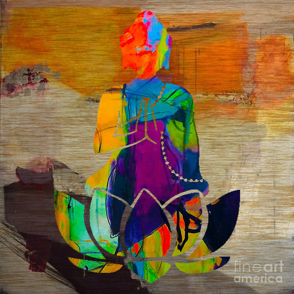 Wall Art - Mixed Media - Buddah On A Lotus by Marvin Blaine
