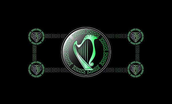 Harp Digital Art - Celtic Harp by Ireland Calling