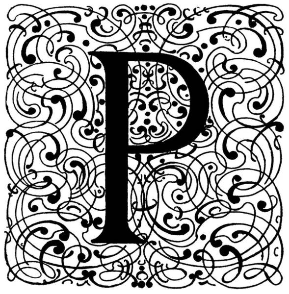 Wall Art - Painting - Decorative Initial, 1710 by Granger