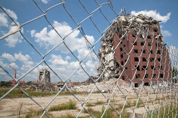 Demolition Of Detroit Housing Towers Art Print by Jim West