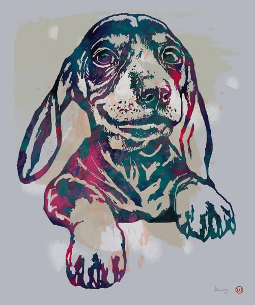 Dog Stylised Pop Modern Etching Art Portrait Art Print
