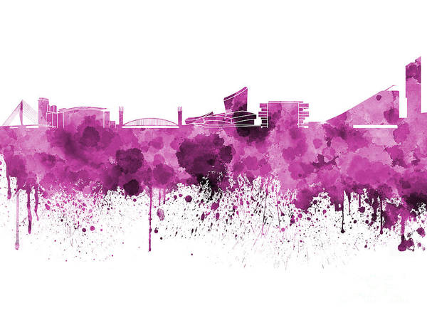 Manchester Skyline Wall Art - Painting - Manchester Skyline In Watercolor On White Background by Pablo Romero