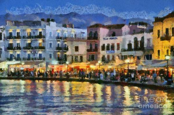 Night Walk Painting - Painting Of The Old Port Of Chania by George Atsametakis