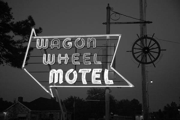 Photograph - Route 66 - Wagon Wheel Motel 2012 Bw by Frank Romeo