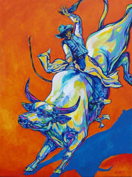 Prca Wall Art - Painting - 8 Second Insanity by Derrick Higgins