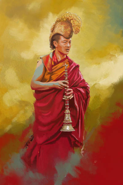 Monk Painting - South Asian Art  by Corporate Art Task Force