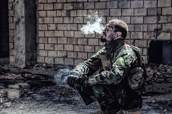 Wall Art - Photograph - Special Forces Soldier Smoking by Oleg Zabielin