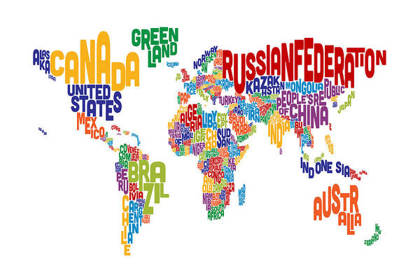 Wall Art - Digital Art - Text Map Of The World by Michael Tompsett