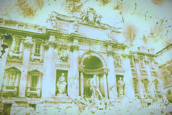 Trevi Fountain Digital Art - Trevi Fountain Landscape by Marina McLain