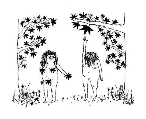 Adam And Eve Wall Art - Drawing - New Yorker December 12th, 2016 by Edward Steed