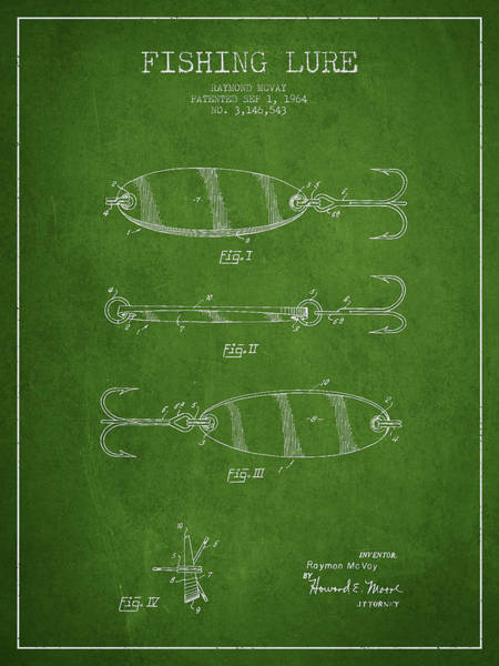 Antique Fishing Lures Wall Art - Digital Art - Vintage Fishing Lure Patent Drawing From 1964 by Aged Pixel
