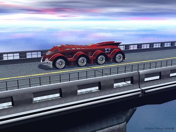 Speed Boat Digital Art - 8 Wheeler by Michael Wimer