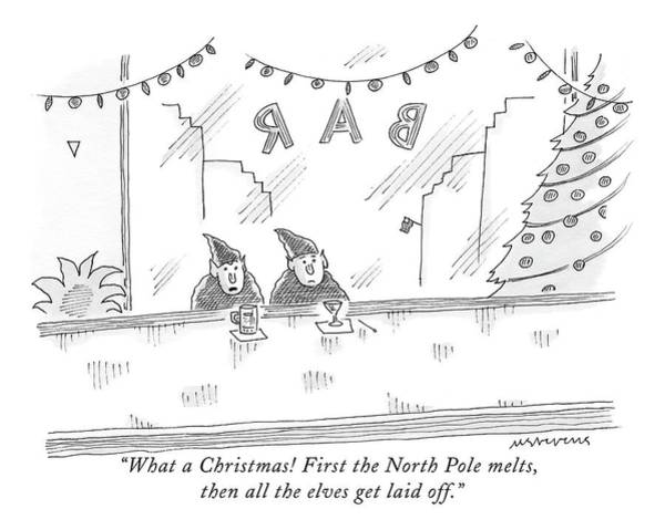 Elves Drawing - What A Christmas! First The North Pole Melts by Mick Stevens