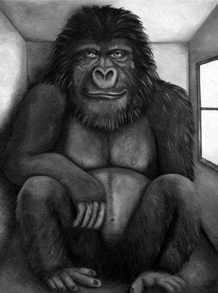 Wall Art - Painting - 800 Pound Gorilla In The Room Edit 3 Bw by Leah Saulnier The Painting Maniac