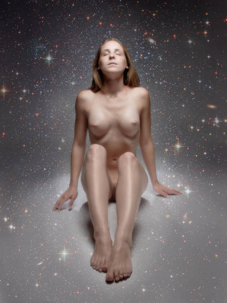 Photograph - 8151 Woman Sitting Nude In Star Field by Chris Maher