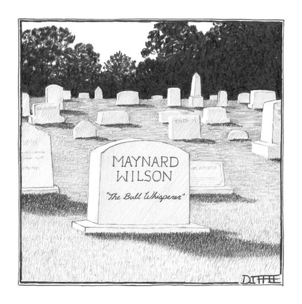 Gravestone Drawing - New Yorker June 5th, 2006 by Matthew Diffee