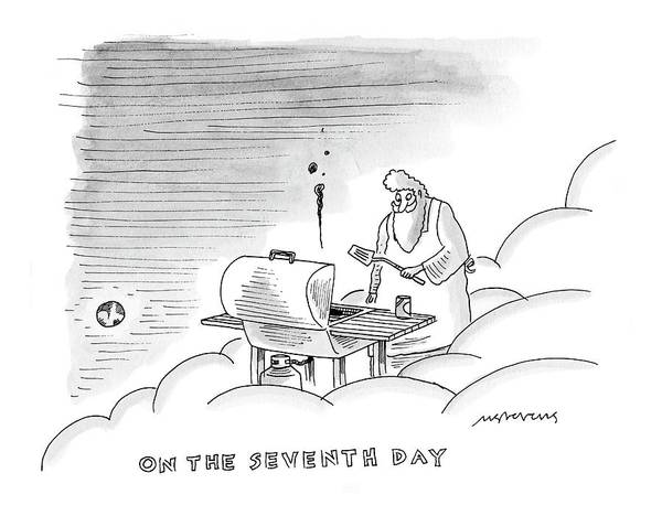 Cook Drawing - On The Seventh Day by Mick Stevens